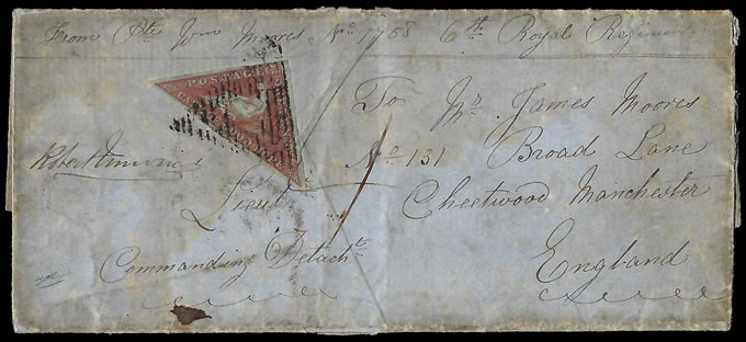 Cape of Good Hope 1855 1d Triangle Early Soldier's Letter, Rare