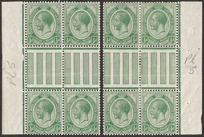 South Africa 1913 KGV ½d Interpanneau Blocks