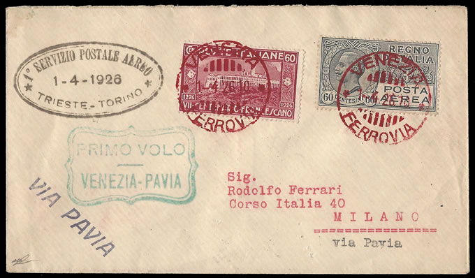 Italy 1926 Turin - Trieste Airmail, Stage Venice to Milan - Click Image to Close