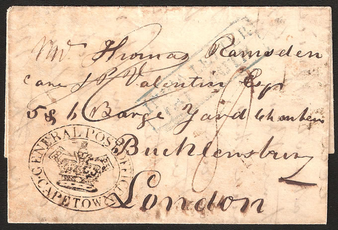 CAPE OF GOOD HOPE 1849 GPO CAPE TOWN OVAL HANDSTAMP