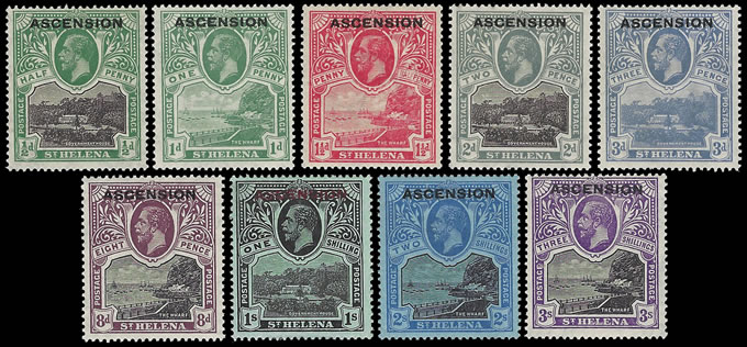 ASCENSION 1922 KGV ½D - 3/- FULL SET MINT