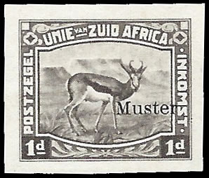 SOUTH AFRICA 1923 HARRISON ESSAYS 1D IMPERF OVPTD MUSTER