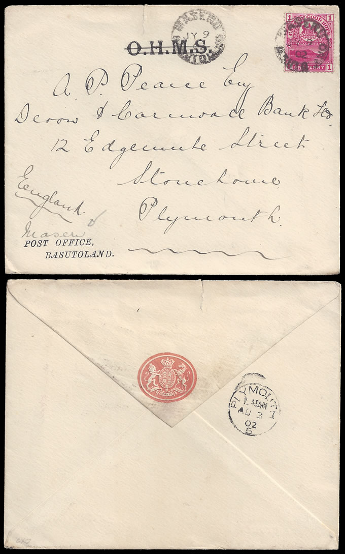 BASUTOLAND 1902 OFFICIAL POST OFFICE BASUTOLAND ENVELOPE