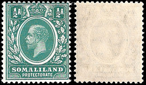 SOMALILAND 1912 KGV ½D INVERTED WATERMARK F/UM