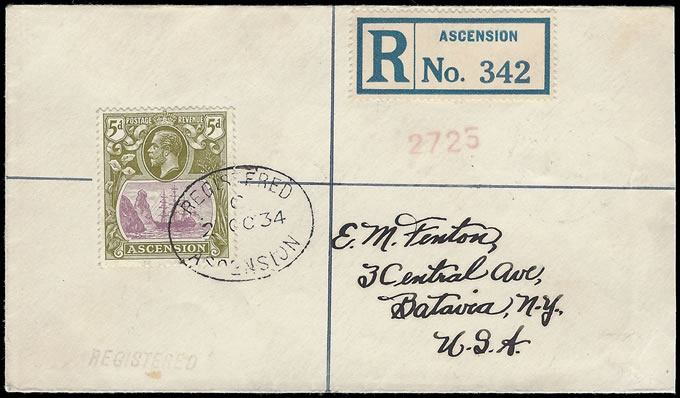 ASCENSION 1934 KGV 5D BADGE ISSUE FRANKING TO USA