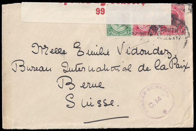 BASUTOLAND 1917 CENSORED COVER MASERU TO SWITZERLAND