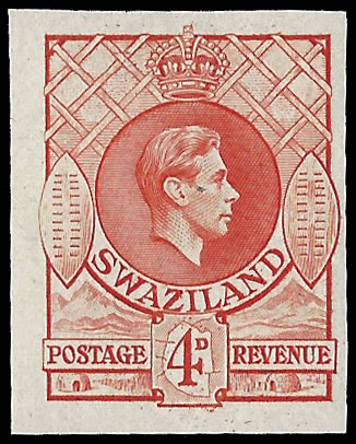 SWAZILAND 1938 KGVI 4D IMPERF PLATE PROOF