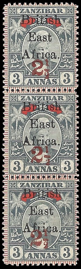 BRITISH EAST AFRICA 1897 2½A ON 3A UPU OVPT DOUBLE ALBINO