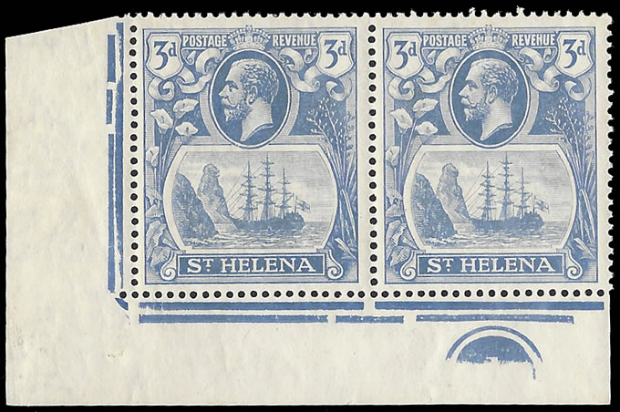 Saint Helena 1923 Badge Issue 3d Cleft Rock in Plate No Pair