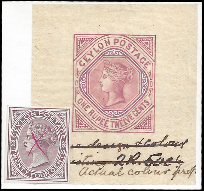 CEYLON 1884 QV HANDPAINTED ESSAY, SHOWPIECE