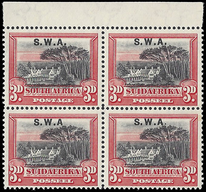 "SOUTH WEST AFRICA 1927 3D NO STOP AFTER ""A"" IN UM BLOCK"