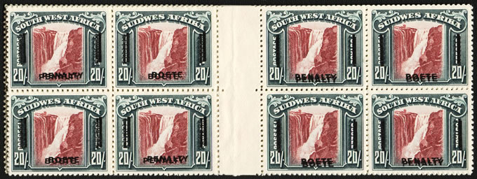 SOUTH WEST AFRICA REVENUES 1933 PENALTY STAMPS, 20/- DOUBLE