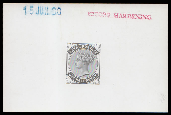 NATAL 1880 QV ½D DIE PROOF BEFORE HARDENING
