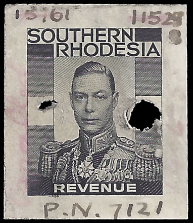 SOUTHERN RHODESIA REVENUES 1937 KGVI UNIQUE MASTER DIE PROOF