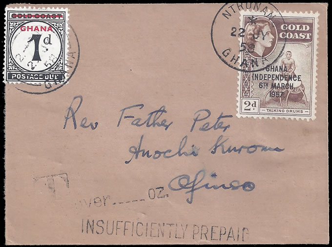 GOLD COAST GHANA 1958 TAXED COVER, 1D POSTAGE DUE