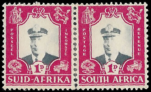 SOUTH AFRICA 1947 ROYAL VISIT 1D VIGNETTE BACKGROUND OMITTED
