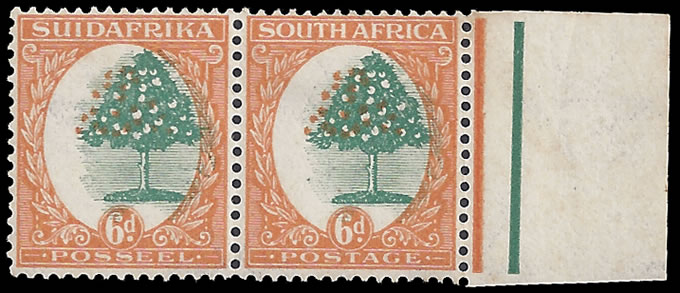SOUTH AFRICA 1926 6D ORANGE TREE SHIFTED CENTRES, SCARCE