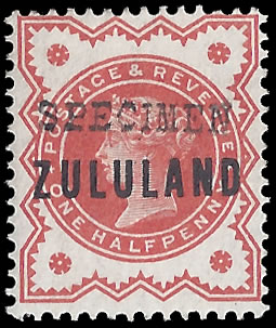 Zululand 1888 ½d GB9 Somerset House Specimen
