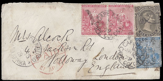 TRANSVAAL 1879 COMBINATION FRANKING FROM RUSTENBURG