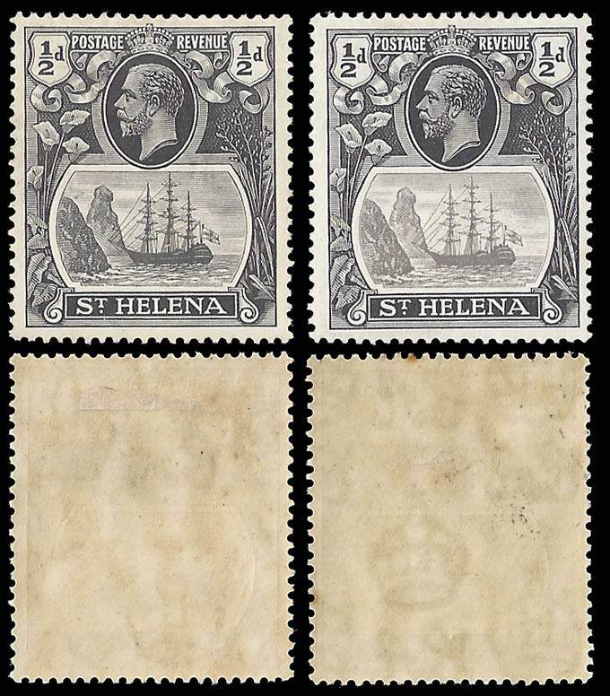 SAINT HELENA 1936 ½D GREY-BLACK BROKEN MAST, RARE