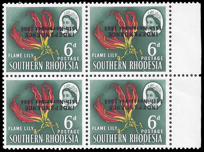 RHODESIA 1966 6D BINDA FORGERY OVPT INVERTED & SHIFTED BLOCK