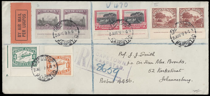 SOUTH AFRICA 1929 LONDON MID VALUE IMPRINTS ON LETTER, RARE!