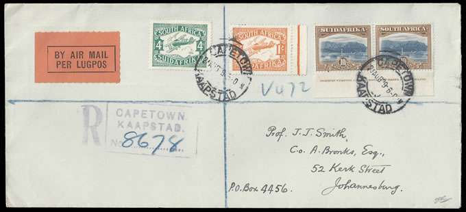 SOUTH AFRICA 1929 LONDON TOP VALUE IMPRINT ON LETTER, RARE!