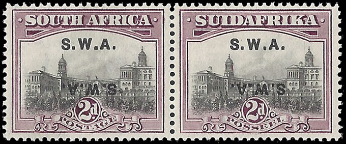 SOUTH WEST AFRICA 1927 2d OVPT DOUBLE, ONE INVERT VF/UM, CERT