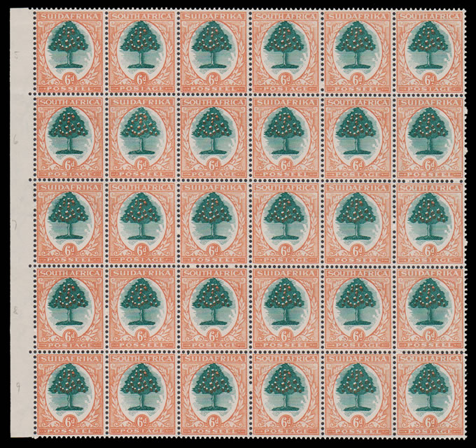 SOUTH AFRICA 1931 6D ORANGE TREE SHIFTED CENTRES, SCARCE BLOCK