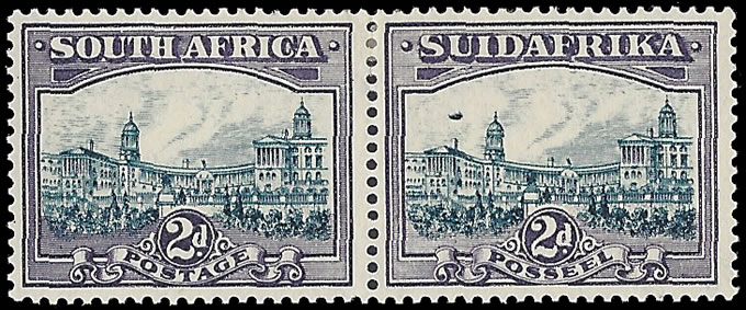 SOUTH AFRICA 1938 2D BLUE & VIOLET AIRSHIP FLAW, SCARCE