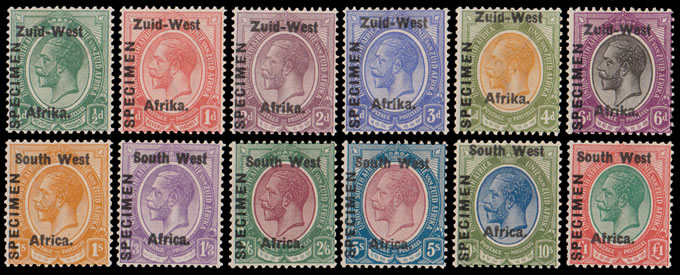 SOUTH WEST AFRICA 1923 KGV ½D - £1 SPECIMENS, RARE