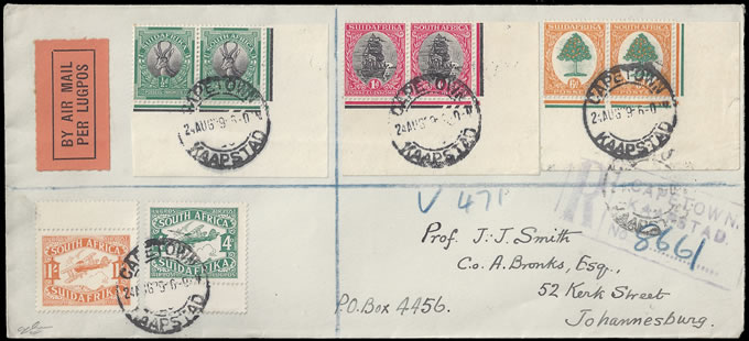 SOUTH AFRICA 1929 PRETORIA LOW VALUE CONTROLS ON LETTER, RARE!