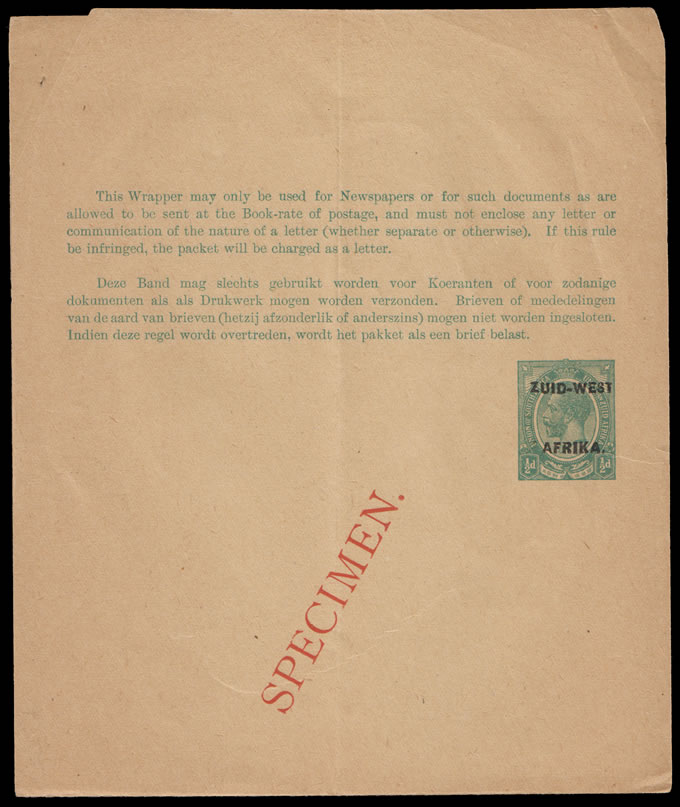 South West Africa 1923 KGV ½d Newspaper Wrapper Specimen