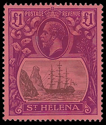 SAINT HELENA 1922 BADGE ISSUE £1 TORN FLAG SUPERB UM, CERT
