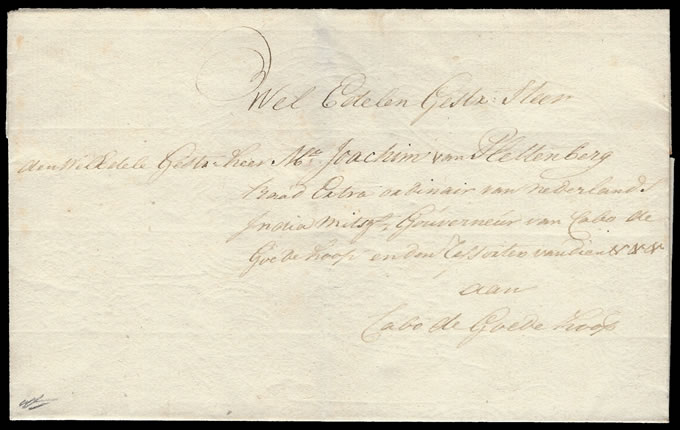 CAPE OF GOOD HOPE 1774c GOVERNOR'S LETTER TO VAN PLETTENBERG