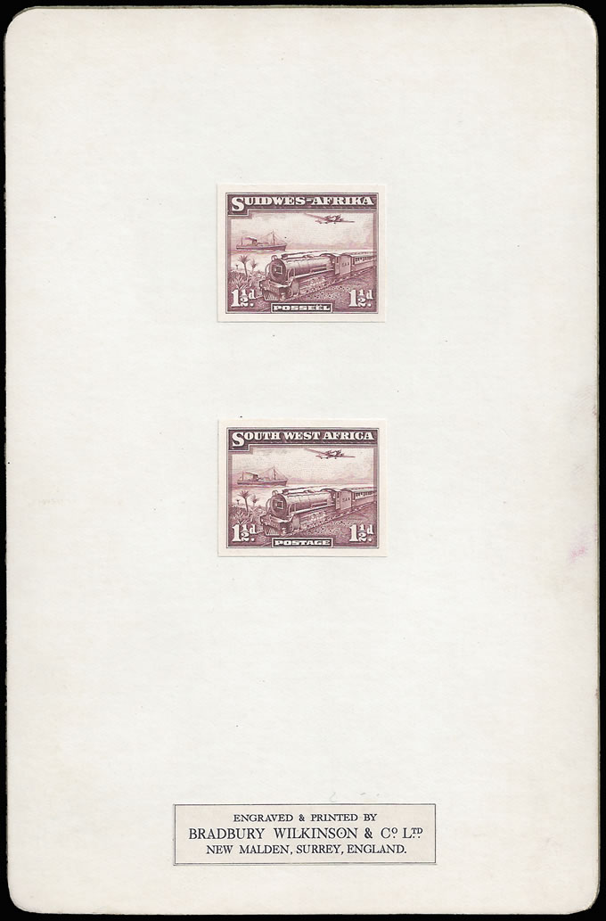 SOUTH WEST AFRICA 1937 1½D TRAIN PROOFS ON BRADBURY CARD