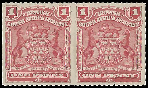 Rhodesia 1898 1d Red Pair, Imperforate Vertically
