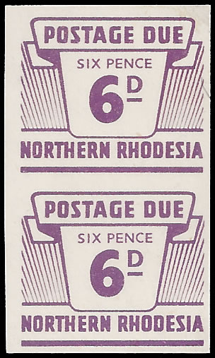 NORTHERN RHODESIA POSTAGE DUES 1963 6D IMPERF PAIR, RARE