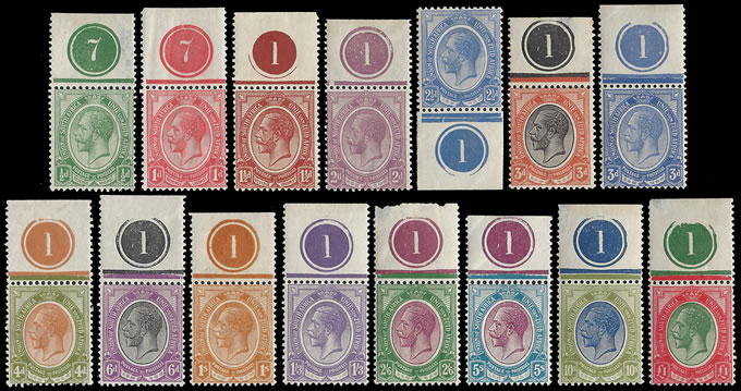 SOUTH AFRICA 1913 KGV ½D - £1 SET PLATE NO COPIES